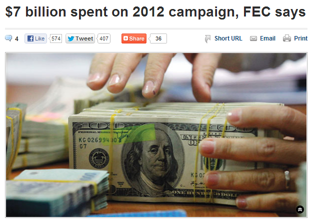 $7 billion spent on 2012 campaign