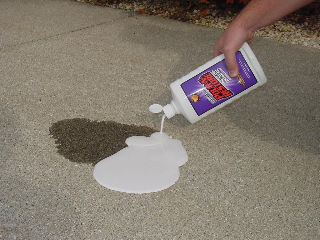 How to remove grease stains from concrete patio 1000 for Cement driveway cleaner