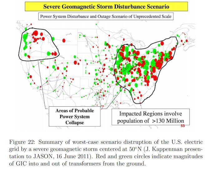 Map Areas Of Probable Power System Collapse 130 Million Lacking Power For Several Years