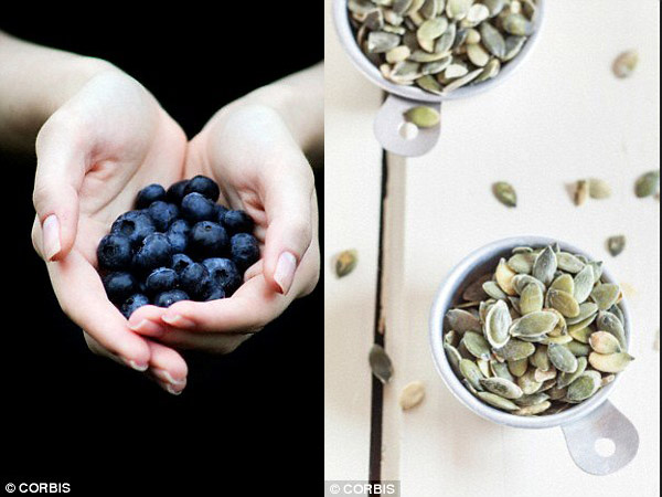 Blueberries and pumpkin seeds