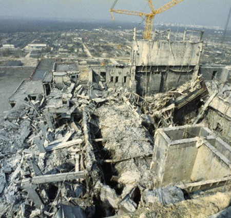 The exploded reactor in Chernobyl